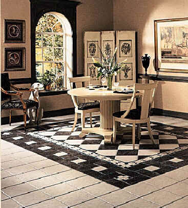 Dining room areas flooring idea caspian by florida tile for Dining room tile floor designs