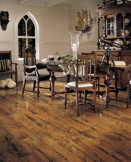 Dining Room Areas designs courtesy of Mannington Hardwood Flooring - All  rights reserved. - Dining Room Areas Flooring Idea : Burlington Beech Plank By