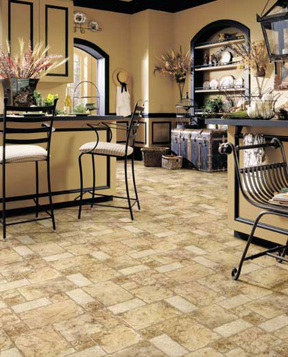 Kitchens flooring idea cozumel by mannington vinyl flooring for Kitchen flooring ideas vinyl