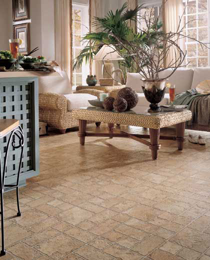 Living Rooms designs courtesy of Mannington Vinyl Flooring  All rights reserved flooring idea Vermont Slate by