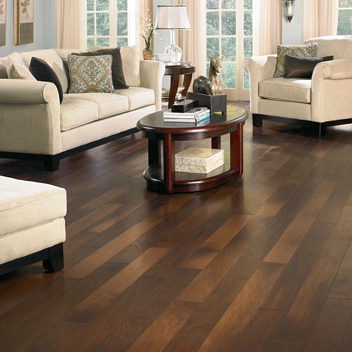 Living rooms flooring idea american classics walnut for Living room designs with dark hardwood floors