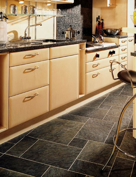 Kitchens flooring idea sn36 norwegian slate silver with for Vinyl floor ideas for kitchen