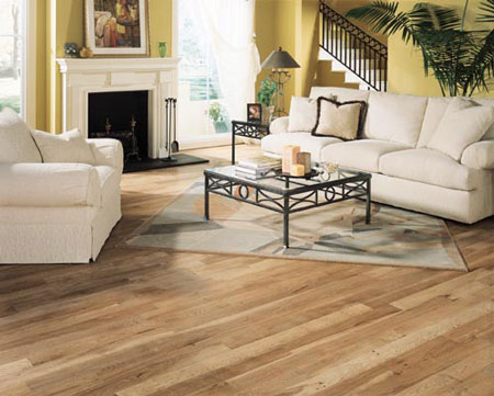 Living rooms flooring idea hickory by mullican hardwood for Living room ideas oak flooring